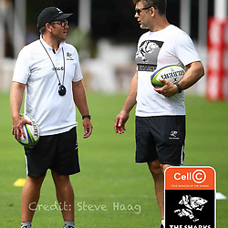 Jaco Pienaar (Assistant Coach) of the Cell C Sharks with Nick Easter (Consultant) of the Cell C Sharks during The Cell C Sharks Captain's Run  session at Jonsson Kings Park Stadium in Durban, South Africa. 22nd February 2019 (Photo by Steve Haag)
