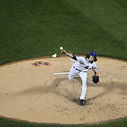 Pitcher Jacob deGrom, New York Mets, in action during the New York Mets Vs Miami Marlins MLB regular season baseball game at Citi Field, Queens, New York. USA. 18th April 2015. Photo Tim Clayton