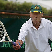 Harward Hillier, Australia, in action against Stuart Robb. New Zealand during the Gardnar Mulloy Cup match during the 2009 ITF Super-Seniors World Team and Individual Championships at Perth, Western Australia, between 2-15th November, 2009.