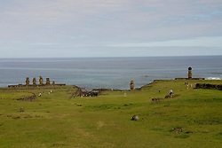 Chile, Easter Island: Wide angle view of historic village called Ahu Tahai, near Hanga Roa..Photo #: ch227-33088..Photo copyright Lee Foster www.fostertravel.com lee@fostertravel.com 510-549-2202