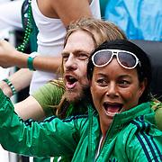 NLD/Amsterdam/20100807 - Boten tijdens de Canal Parade 2010 door de Amsterdamse grachten. De jaarlijkse boottocht sluit traditiegetrouw de Gay Pride af. Thema van de botenparade was dit jaar Celebrate, Kristof Rutsaert, ex partner Robert Long