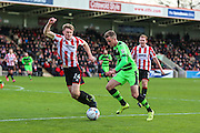Forest Green Rovers Elliott Frear on the ball during the Vanarama National League match between Cheltenham Town and Forest Green Rovers at Whaddon Road, Cheltenham, England on 21 November 2015. Photo by Shane Healey.