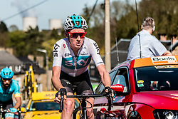 Tao GEOGHEGAN HART of Team Sky on his Pinarello bike during the 2nd of 3 climbs with 29 km to go at Mur de Huy of the 2018 La Flèche Wallonne race, Huy, Belgium, 18 April 2018, Photo by Pim Nijland / PelotonPhotos.com | All photos usage must carry mandatory copyright credit (Peloton Photos | Pim Nijland)