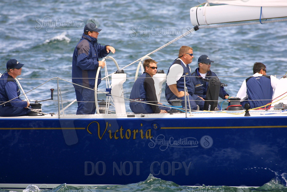 Apr 26, 2002; Newport Beach, California, USA; Skipper MICHAEL CAMPBELL and crew of 'Victoria' at the start of the 55th annual 125 mile Newport to Ensenada Yacht Race.<br />
