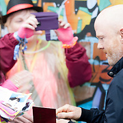Jimmy Somerville signs autographs backstage <br /> <br /> Images from Rewind Scotland 2014 which was held at Scone Palace Perth on 19th and 20th July.<br /> <br /> All images copyright Shaun Ward Photography