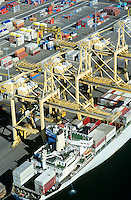 Aerial view container ship in dock Sydney Australia
