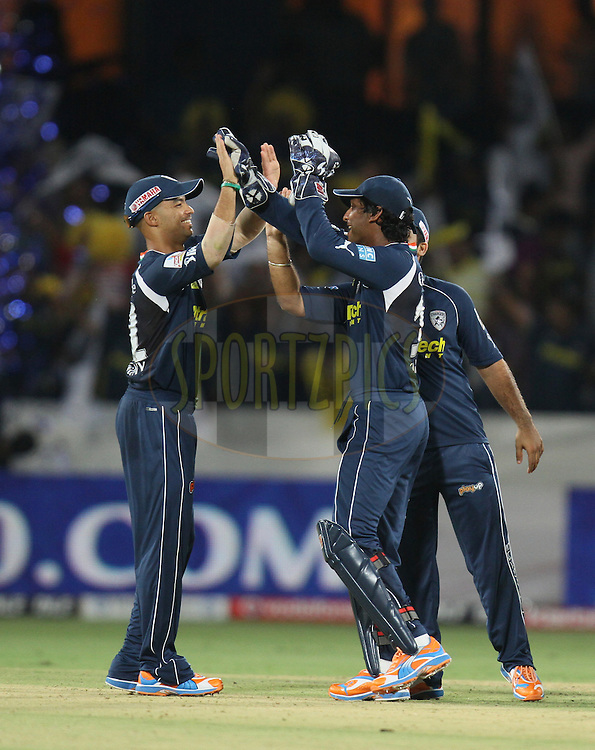 Deccan Chargers celebrate after winning the match 11 of the Indian Premier League ( IPL ) between the Deccan Chargers and the Royal Challengers Bangalore held at the Rajiv Gandhi International Cricket Stadium in Hyderabad on the 14th April 2011...Photo by Parth Sanyal/BCCI/SPORTZPICS