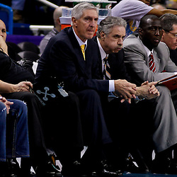 December 17, 2010; New Orleans, LA, USA; Utah Jazz head coach Jerry Sloan watches action from the bench during the second half of a game against the New Orleans Hornets at the New Orleans Arena.  The Hornets defeated the Jazz 100-71. Mandatory Credit: Derick E. Hingle