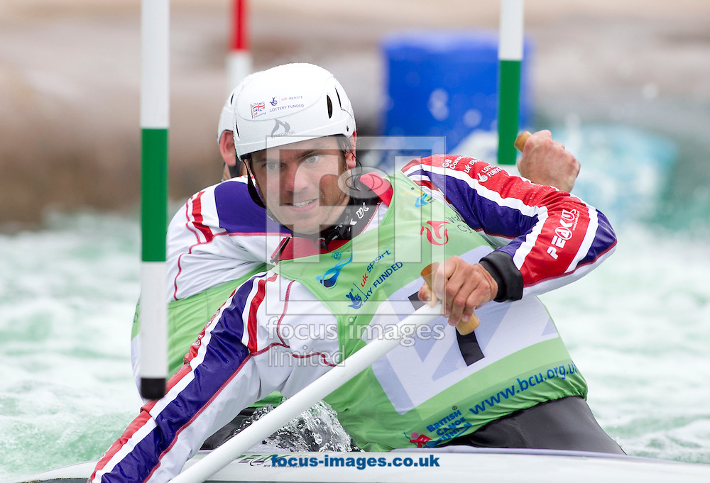 Picture by Mike  Griffiths/Focus Images Ltd +44 7766 223933<br /> 23/06/2013<br /> Timothy Baillie and Etienne Stott of Great Britain during the Canoe Slalom World Cup Final at Cardiff International White Water, Cardiff, Wales.