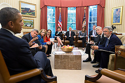 President Barack Obama holds a precision medicine meeting in the Oval Office, Oct. 3, 2014. Seated, from left, are: Eric Lander, Co-Chair, President's Council of Advisors on Science and Technology; Jo Handelsman, Associate Director for Science, Office of Science and Technology Policy; Margaret Hamburg, FDA Commissioner; Senior Advisor Valerie Jarrett; John Podesta, Counselor to the President; Health and Human Services Secretary Sylvia Mathews Burwell; Shaun Donovan, Director, Office of Management and Budget; Francis Collins, Director, National Institutes of Health; and Dr. John Holdren, Director of the Office of Science and Technology Policy. (Official White House Photo by Pete Souza)<br /> <br /> This official White House photograph is being made available only for publication by news organizations and/or for personal use printing by the subject(s) of the photograph. The photograph may not be manipulated in any way and may not be used in commercial or political materials, advertisements, emails, products, promotions that in any way suggests approval or endorsement of the President, the First Family, or the White House.