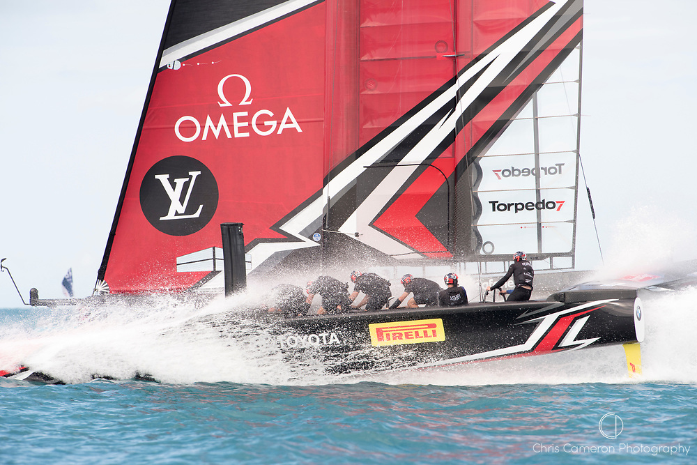 The Great Sound, Bermuda 12th June 2017. Emirates Team New Zealand wins race seven of the Louis Vuitton America's Cup Challenger series finals and so goes on to be the Challenger for the 35th America's Cup