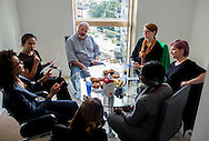 Mariette Immaculate, Rebecca Thomson, Chris Osburn and Lindsay Keith attend the L&Q Interactive Roundtable on Affordable Housing & Shared Ownership in London, hosted at the L&Q marketing suite in Lewisham, London, Tuesday, Sept. 29, 2015.