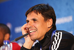 BORDEAUX, FRANCE - Friday, June 10, 2016: Wales' manager Chris Coleman during a press conference at the Stade de Bordeaux ahead of their opening game of the UEFA Euro 2016 Championship against Slovakia. (Pic by UEFA Handout/Propaganda)