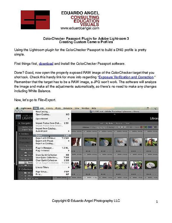 Creating Custom Camera Profiles using X-Rite's Color Checker Passport Plugin for Adobe Lightroom 3.