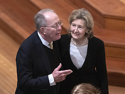 United States Senator Lamar Alexander (Republican of Tennessee), left, and US Permanent Representative to NATO Kay Bailey Hutchison, right, converse prior to the National funeral service in honor of the late former US President George H.W. Bush at the Washington National Cathedral in Washington, DC on Wednesday, December 5, 2018.<br /> Photo by Ron Sachs / CNP/ABACAPRESS.COM