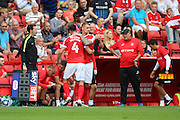 Charlton Athletic midfielder Johnnie Jackson (4) going off  during the EFL Sky Bet Championship match between Charlton Athletic and Bolton Wanderers at The Valley, London, England on 27 August 2016. Photo by Matthew Redman.