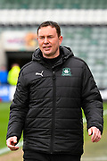 Plymouth Argyle manager Derek Adams smiles before the EFL Sky Bet League 2 match between Plymouth Argyle and Accrington Stanley at Home Park, Plymouth, England on 1 April 2017. Photo by Graham Hunt.