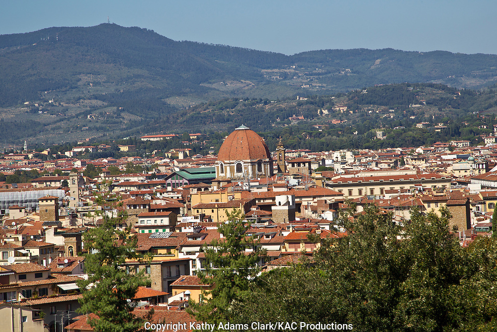 The skyline of Florence, Firenze, Italy, from the Pitti Palace, with the Duomo of the Medici Chapel.