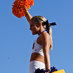 Oct 2, 2010; Baton Rouge, LA, USA; A LSU Tigers cheerleader performs during the second half of a game between the LSU Tigers and the Tennessee Volunteers at Tiger Stadium. LSU defeated Tennessee 16-14.  Mandatory Credit: Derick E. Hingle