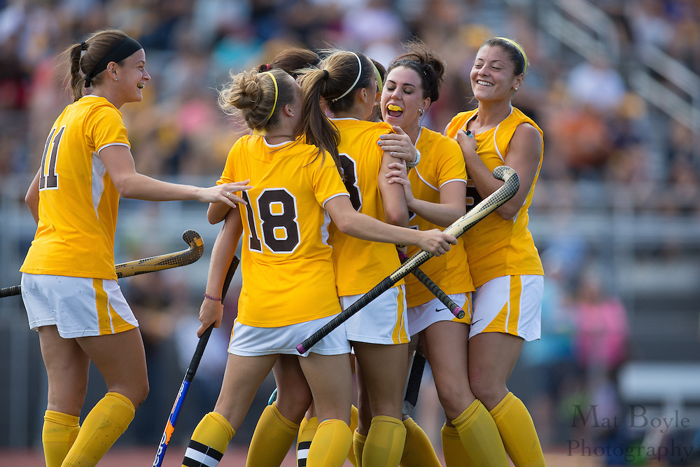 Rowan University Senior Forward/Midfield Amy McKeever (8); Rowan University Junior Forward/Midfield Karlee Henderson (18); Rowan University Sophomore Forward Johanna James (12); Rowan University Sophomore Midfield Marisa Marini (16); Rowan University Junior Forward Kellie Campbell (11);  Rowan University Field Hockey vs Neumann University at Coach Richard Wacker Stadium in Glassboro, NJ on Saturday September 28, 2013. (photo / Mat Boyle)