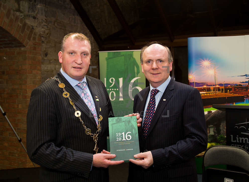 08/12/2015                <br /> Limerick City &amp; County Council launches Ireland 2016 Centenary Programme<br /> <br /> An extensive programme of events across the seven programme strands of the Ireland 2016 Centenary Programme was launched at the Granary Library, Michael Street, Limerick, last night (Monday, 7 December 2015) by Cllr. Liam Galvin, Mayor of the City and County of Limerick.<br /> <br /> Led by Limerick City &amp; County Council and under the guidance of the local 1916 Co-ordinator, the programme is the outcome of consultations with interested local groups, organisations and individuals who were invited to participate in the planning and implementation of events and initiatives during 2016.  <br /> <br /> Pictured at the event were, Mayor of Limerick, Cllr. Liam Galvin and Damien Brady, 2016 Co-Ordinator. Picture: Alan Place