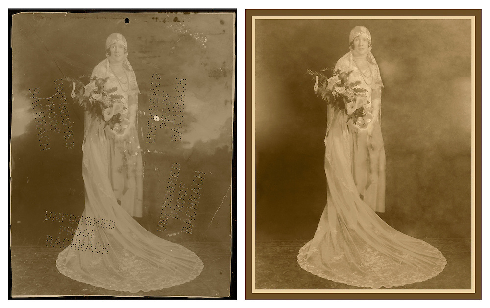 Before and after of digital restoration done on a bridal portait.
