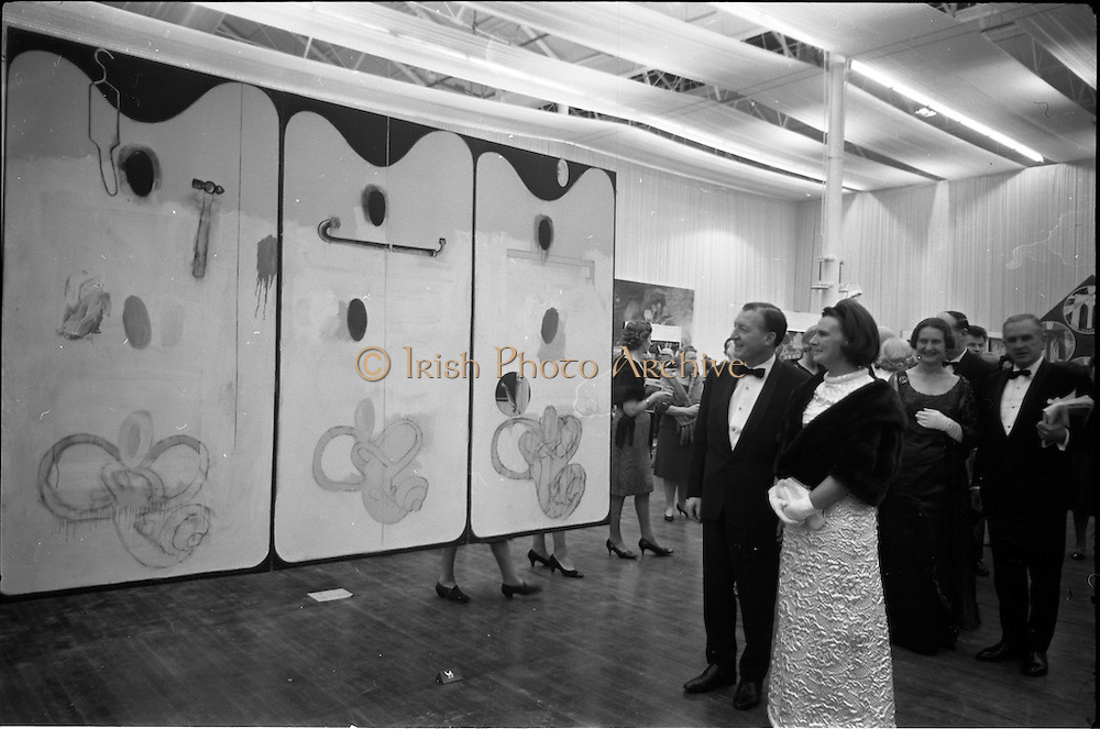 12/11/1967<br /> 11/12/1967<br /> 12 November 1967<br /> Official opening of ROSC art exhibition at the R.D.S., Dublin.<br /> Mr Charles Haughey, T.D., Minister for Finance, viewing one of the works.