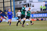 Callum Camps scores for Rochdale during the Sky Bet League 1 match between Oldham Athletic and Rochdale at Boundary Park, Oldham, England on 19 March 2016. Photo by Daniel Youngs.