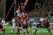 Steven Robert Sykes of Oyonnax and Etienne Oosthuizen of Lyon during the French Championship Top 14 Rugby Union match between US Oyonnax Rugby and Lyon OU on April 28, 2018 at Charles Mathon stadium in Oyonnax, France - Photo Romain Biard / Isports / ProSportsImages / DPPI