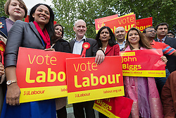 © Licensed to London News Pictures. 06/06/2015. London, UK. John Biggs (centre) with MPs: Rushanara Ali, Tulip Siddiq and Rupa Huq at a Labour Party rally for Tower Hamlets Mayoral candidate, John Biggs in Altab Ali Park in Tower Hamlets, east London. The three women Bangladeshi London Labour MPs (Rushanara Ali, Tulip Siddiq and Rupa Huq) attended the rally today with Labour Party supporters. Photo credit : Vickie Flores/LNP