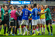 The Rangers and Legia Warsaw players square up to each other after the final whistle of the the Europa League Play Off leg 2 of 2 match between Rangers FC and Legia Warsaw at Ibrox Stadium, Glasgow, Scotland on 29 August 2019.