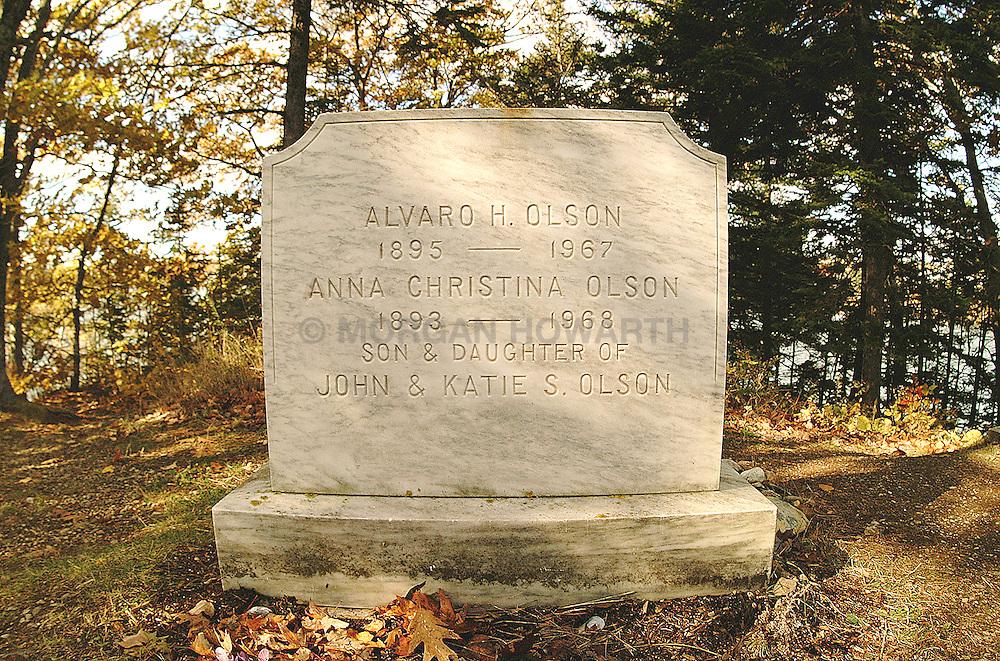 Christine Olsen grave stone in Maine cemetary
