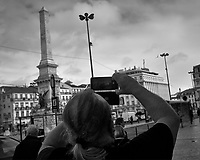 Picture in Picture - Monument in Restauradores Square. Afternoon walkabout in Lisbon. Image taken with a Leica CL camera and 23 mm f/2 lens.