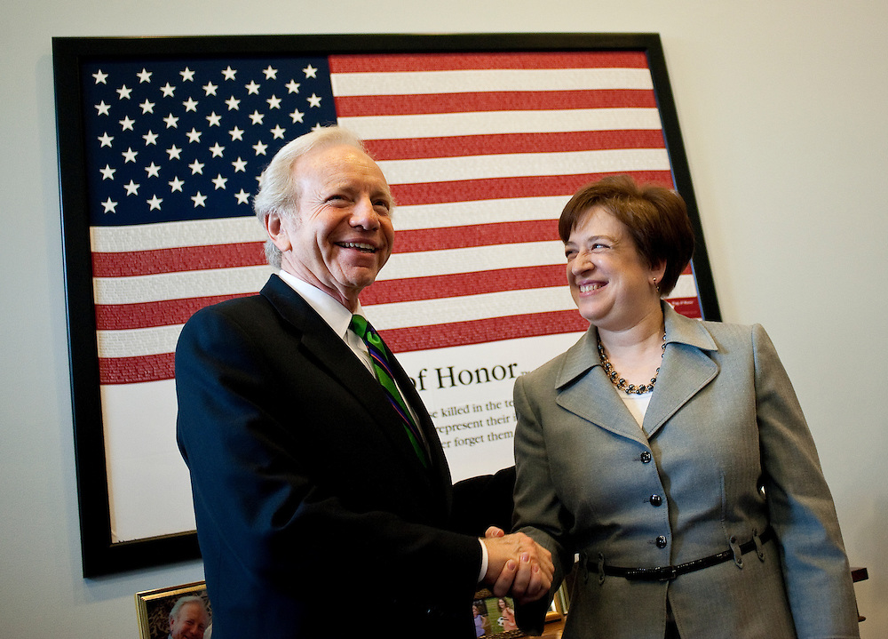 May 25, 2010 - Washington, District of Columbia, U.S., - Solicitor General and Supreme Court nominee Elena Kagan meets with Joe Lieberman during another day of meetings on Capitol Hill intended to build support for her confirmation..(Credit Image: © Pete Marovich/ZUMA Press)