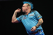 Peter Wright during the Grand Slam of Darts, at Aldersley Leisure Village, Wolverhampton, United Kingdom on 11 November 2019.