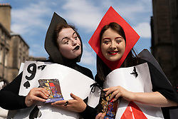 Edinburgh, Scotland, UK. 3 August 2019. On the first weekend of the Edinburgh Fringe Festival good weather brought out thousands of tourists to enjoy the many street performers  on the Royal Mile in Edinburgh Old Town. Pictured Rove Street Productions. There is No Problem Here. Iain Masterton/Alamy Live News