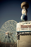 Front of a Coney Island store on the boardwalk with the wonder wheel in the background, Brooklyn, New York, 2010.