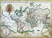 Nautical world map of 1634 by Jean Guerard.  Australia is suggested but still unknown territory and , California is shown as an island.