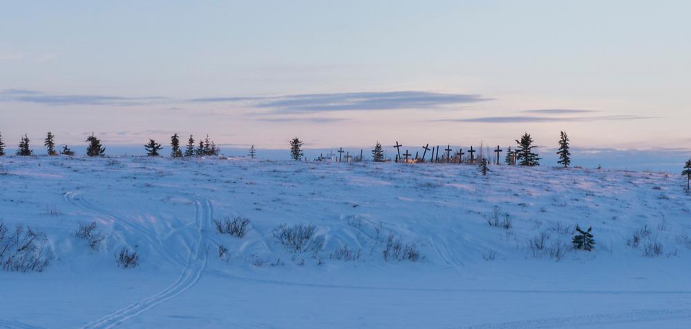 The town cemetary on an adjacent hillside just outside the village of Noorvik, Alaska. Noorvik is in the Northwest Arctic region of northwest Alaska.