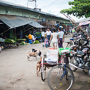 The afternoon flower street market in Mandalay, Myanmar (Burma).