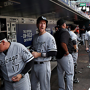 NEW YORK, NEW YORK - June 01:  Todd Frazier #21 of the Chicago White Sox in the dugout preparing to bat during the Chicago White Sox  Vs New York Mets regular season MLB game at Citi Field on June 01, 2016 in New York City. (Photo by Tim Clayton/Corbis via Getty Images)