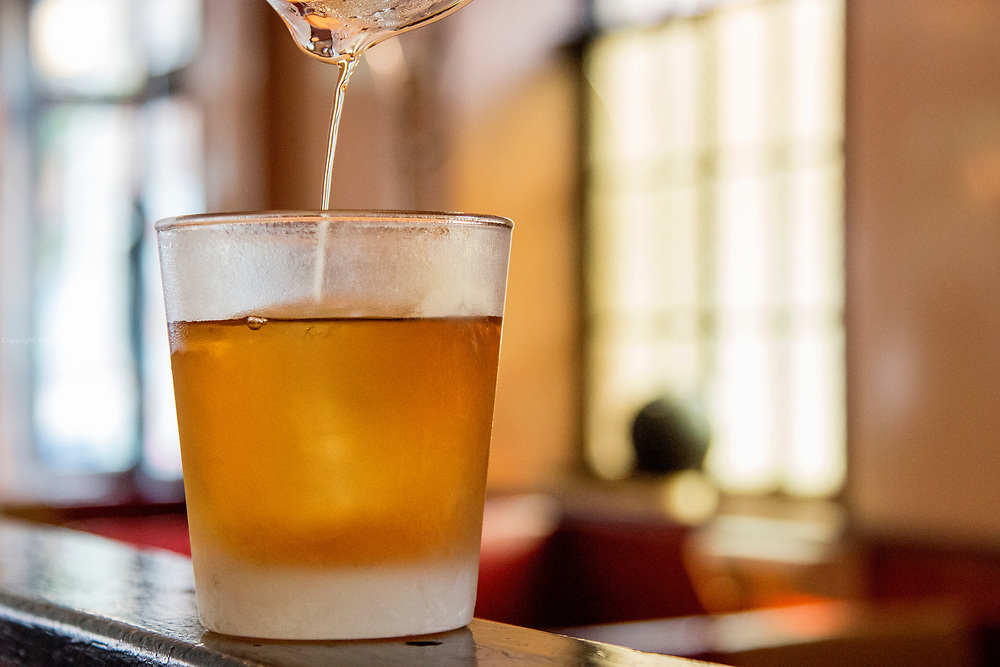 Aquavit and rye Old Fashion cocktail. The Long Island Restaurant and Bar in Brooklyn. The owner, Toby Cecchini, claims to have New York's largest collection of the Scandianvian liquor Aquavit.