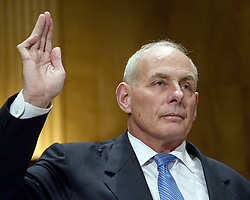 July 28, 2017 - President Trump on Friday picked Homeland Security secretary, John Kelly, as his new chief of staff. PICTURED: January 10, 2017 - Washington, District of Columbia, United States of America - General JOHN F. KELLY, USMC (Retired) is sworn-in to testify before the United States Senate Committee on Homeland Security and Governmental Affairs confirmation hearing on his nomination to be Secretary, US Department of Homeland Security on Capitol Hill. (Credit Image: © Ron Sachs/CNP via ZUMA Wire)