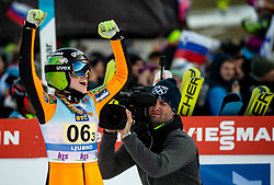 Nika Kriznar of Slovenia celebrates during Team Competition at Day 2 of World Cup Ski Jumping Ladies Ljubno 2019, on February 9, 2019 in Ljubno ob Savinji, Slovenia. Photo by Matic Ritonja / Sportida