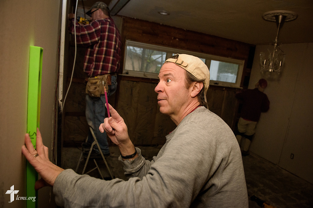 Volunteers from Saint Paul Lutheran Church, Mount Prospect, Ill., including Jon Gehrt, rebuild a home damaged by Hurricane Harvey on Wednesday, Feb. 7, 2018, in Port Arthur, Texas.  LCMS Communications/Erik M. Lunsford