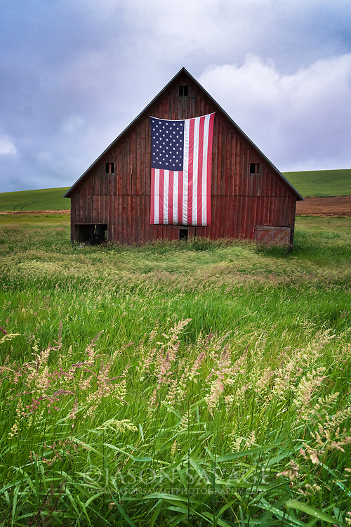 Patriotic barn in Washington's Palouse region.
