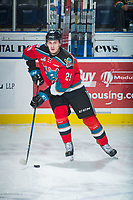 KELOWNA, CANADA - OCTOBER 13: Nolan Foote #29 of the Kelowna Rockets warms up with the puck against the Calgary Hitmen on October 13, 2017 at Prospera Place in Kelowna, British Columbia, Canada.  (Photo by Marissa Baecker/Shoot the Breeze)  *** Local Caption ***