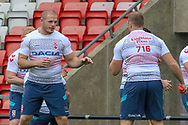 Thomas Burgess (left) and George Burgess during the RFL England Captain's Run at Leigh Sports Village, Leigh<br /> Picture by Steve McCormick/Focus Images Ltd 07545 862647<br /> 16/10/2018