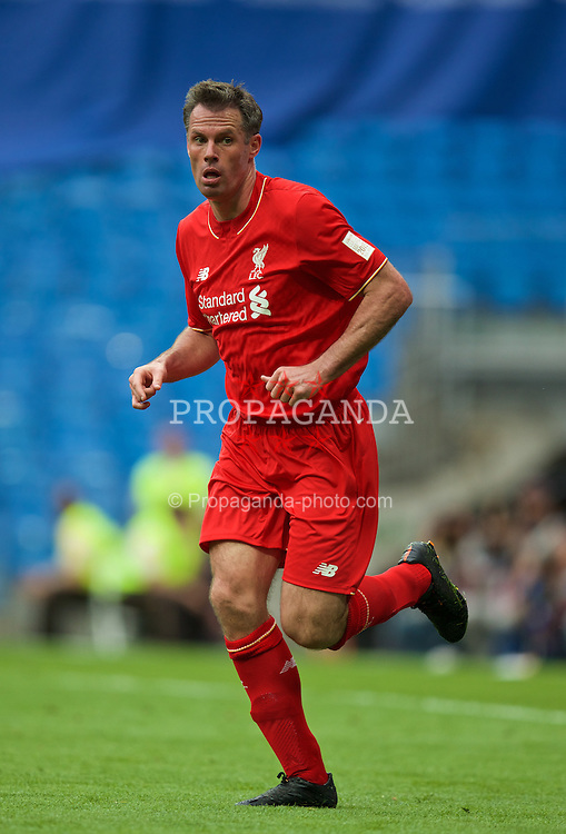 MADRIS, SPAIN - Sunday, June 14, 2015: Liverpool's Jamie Carragher in action against Real Madrid during the Corazon Classic Legends Friendly match at the Estadio Santiago Bernabeu. (Pic by David Rawcliffe/Propaganda)