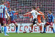 Billy Bingham makes attempt at goal during the Sky Bet League 1 match between Scunthorpe United and Crewe Alexandra at Glanford Park, Scunthorpe, England on 15 August 2015. Photo by Ian Lyall.